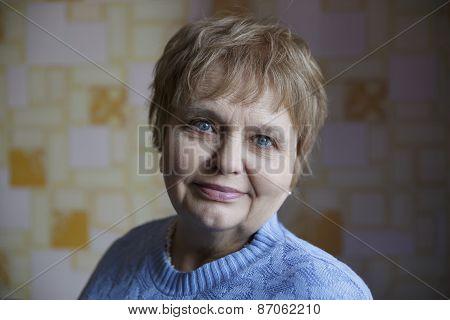 Beautiful elegant elderly lady at home