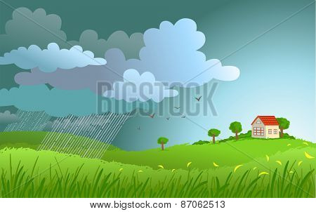Dramatic landscape with approaching a storm and a rain on a small house.
