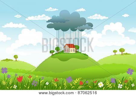 Cloud and rain over one house, while around good weather. Conceptual illustration