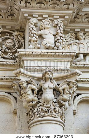 Sculptures At The Santa Croce Baroque Church In Lecce, Italy