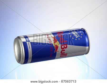 Kuala Lumpur, MALAYSIA- January 13, 2015. Can of Red Bull Energy Drink.
