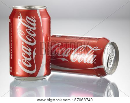 KUALA LUMPUR, MALAYSIA - April 2nd 2015.Photo of a can of Coca-Cola  . The brand is one of the most popular soda products in the world