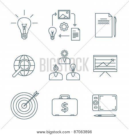 Dark Outline Creative Business Process Icons Set.