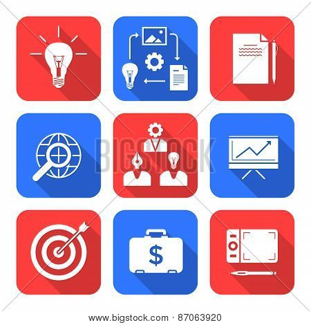 Solid White Color Flat Style Creative Business Process Icons Set.
