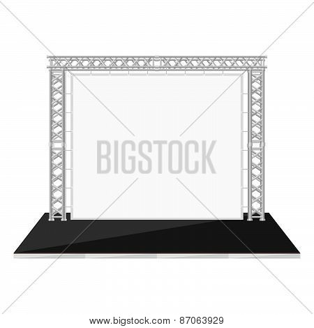 Black Color Flat Style Low Stage With Banner On Metal Truss.