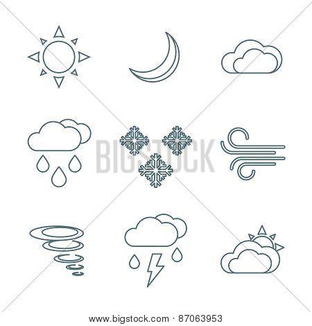 Dark Outline Weather Forecast Icons Set.