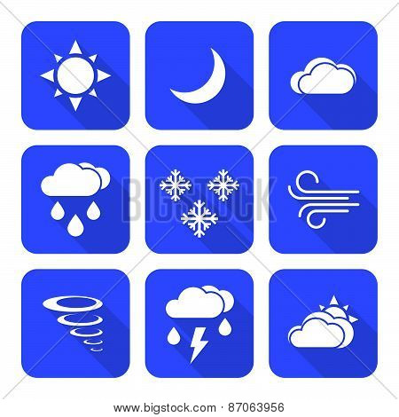 Flat Style Solid White Color Weather Forecast Icons Set.