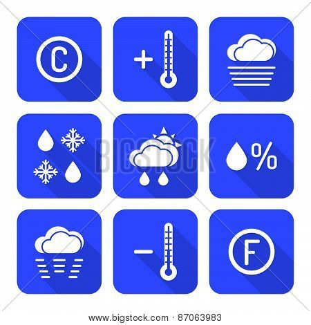 Solid White Color Flat Style Weather Forecast Icons Set.
