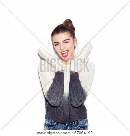 Happy Young Woman Experiencing The Joy Raising Her Hands Up