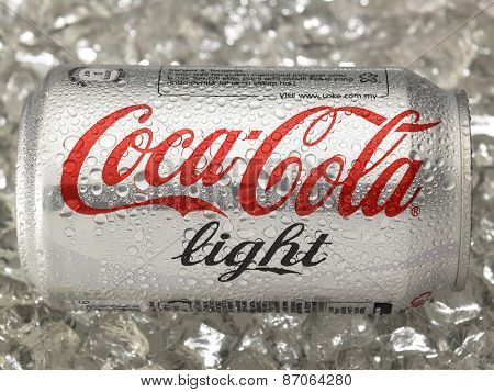 KUALA LUMPUR, MALAYSIA - April 2nd 2015.Photo of a can of Coca-Cola light . The brand is one of the most popular soda products in the world and it is sold almost everywhere