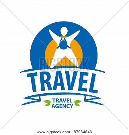 Round Vector Icon Tourist With A Backpack