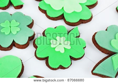 Tasty cookies as shamrocks for Saint Patrick's Day