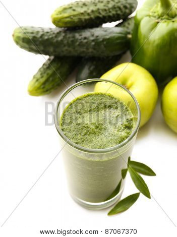 Green fresh healthy juice with apple and vegetables isolated on white