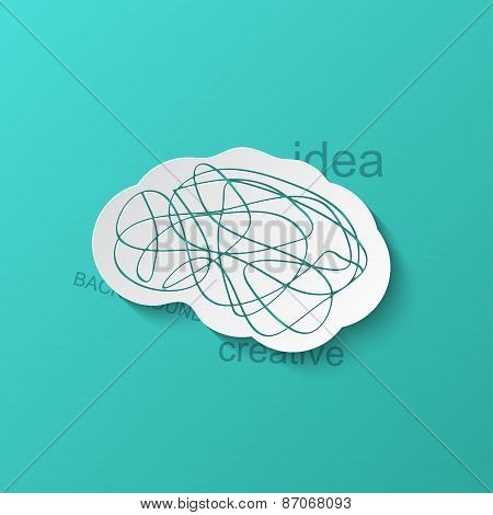 Vector modern brain icon on blue background