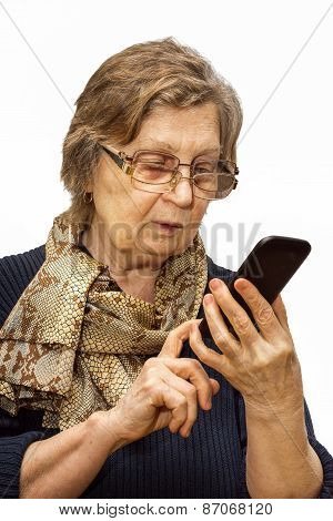 Pensioner Woman With Two Pair Of Glasses Dealing Cell Phone On White Background. Retirement And Call