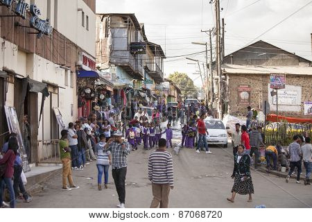 ADDIS ABABA, ETHIOPIA-OCTOBER 31, 2014: Unidentified locals go about their business in Addis Ababa, Ethiopia
