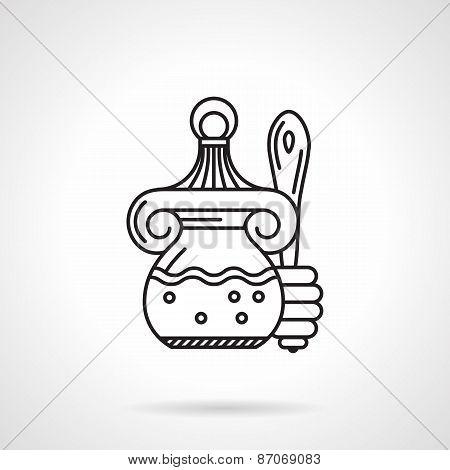 Honey jar black line vector icon