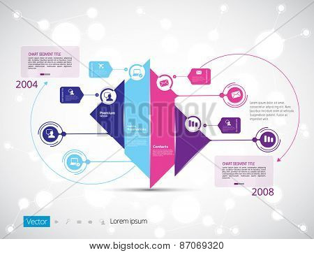 Template for business presentation with text areas. Infographic