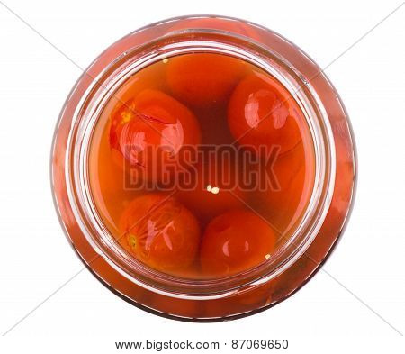Pickled Red Tomatoes In Glass