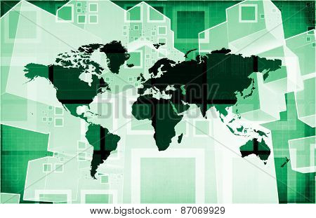 Emerging Market and International Global Businesses Art background