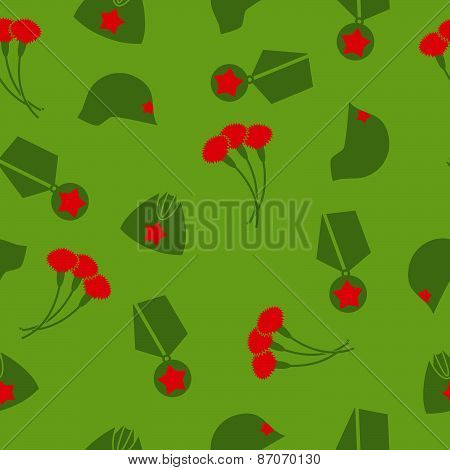 9 May. Victory day. Seamless pattern. Background of cloves, Cap, helmet, Medal