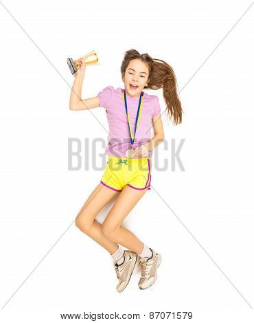 Cheering Girl Jumping High With Gold Medal And Cup