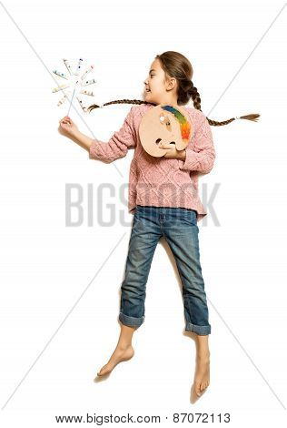 Cute Girl Holding Palette And Paintbrush Like Magic Wand