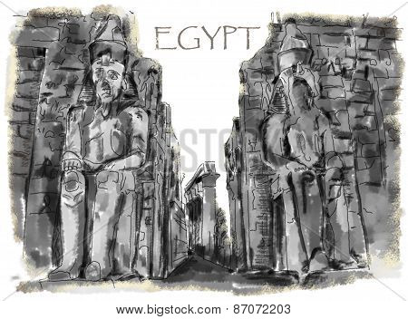 Drawing Ancient Egyptian Statue