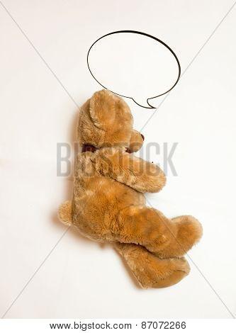 Isolated Photo Of Sleeping Cute Brown Teddy Bear