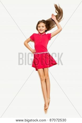 Isolated Photo Of Girl In Red Dress With Long Hair Lying On Floor