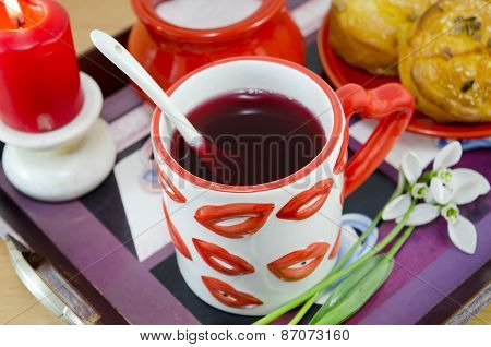 Lip Patterned Cup Of Tea On A Tray