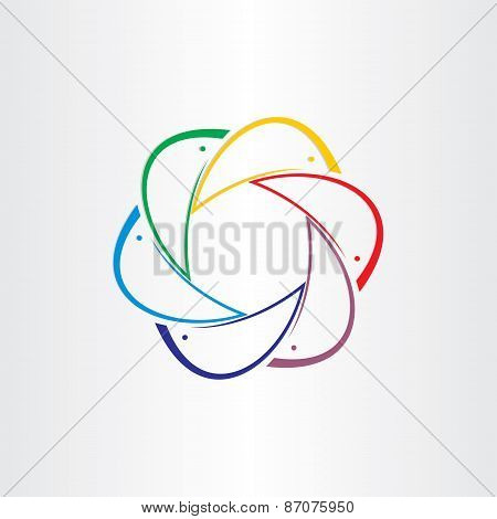 Color Dolphins In Circle Design Element