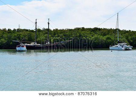Sailboats in Caribbean