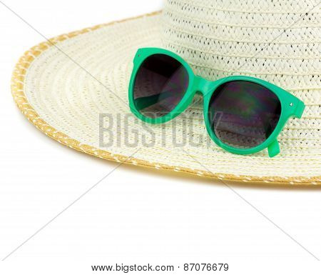 Beach Hat And Sun Glasses