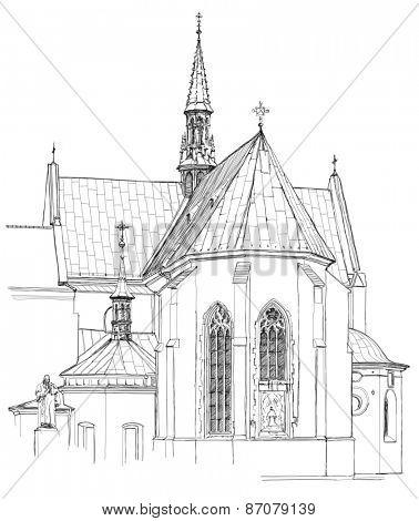 Poland. Krakow. Church. Black & white sketch