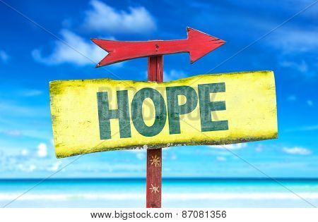 Hope sign with beach background