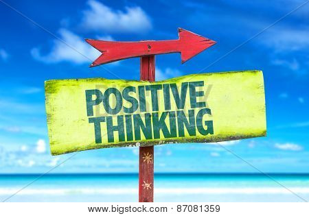 Positive Thinking sign with beach background