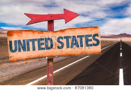 United States sign with road background