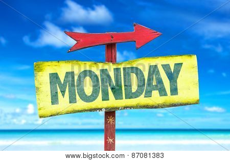 Monday sign with beach background