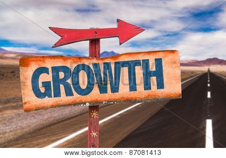Growth sign with road background