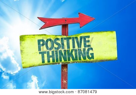 Positive Thinking sign with sky background