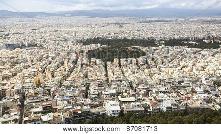 ATHENS, GREECE - MAR 28, 2015: Panorama of Athens from Lycabettus. Lycabettus also known as Lycabettos or Lykavittos - a mountain in central Athens, the height of 277 meters above sea level.