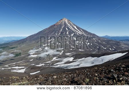 Mountain Kamchatka Landscape: View On Active Koryaksky Volcano