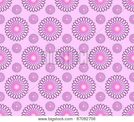 Vector abstract seamless pattern background with pink  flowers