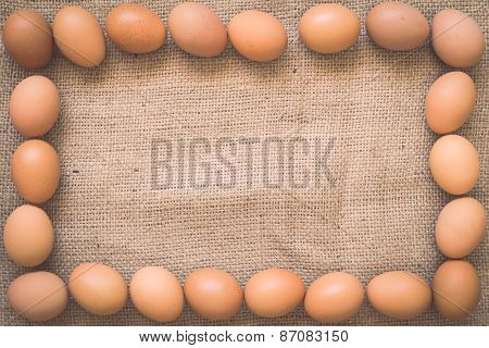 Eggs On Old Crumpled Burlap