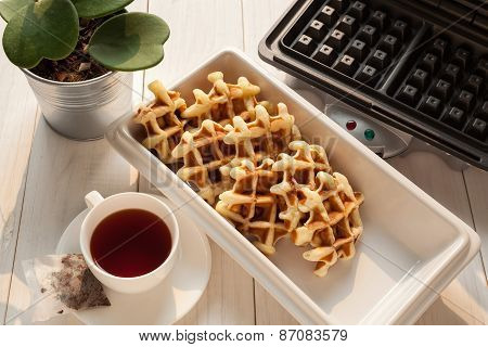 Tea Time With Waffle Afternoon beverage food break