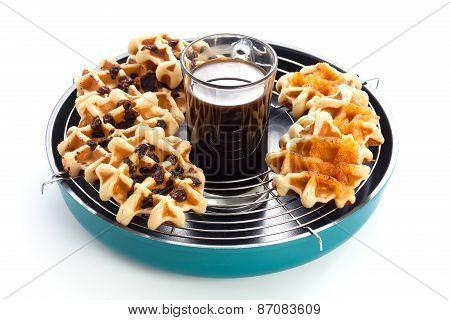 Coffee Waffles Currant Morning Breakfast