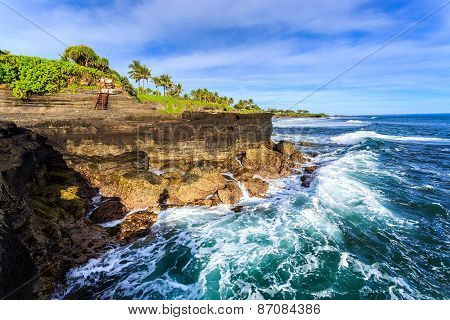 Water Blow On Beautiful Coastline