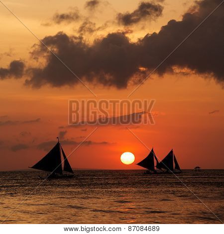 Beautiful sunset at Boracay Philippines