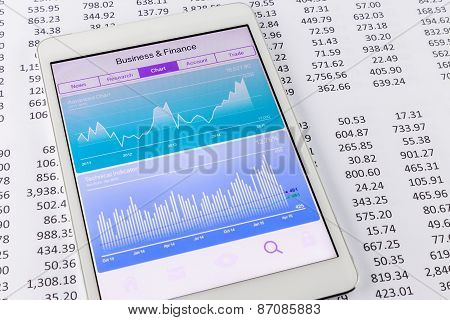 Stock Market Data And Financial Chart Or Graph On Tablet